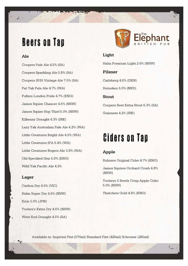 Tap Beers & Ciders